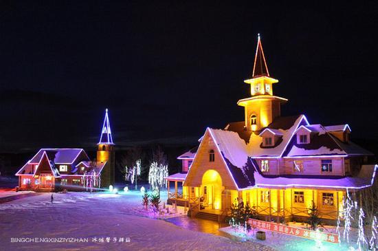 冬天房子夜景手绘